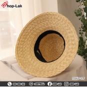 Noble wide brim hat Bamboo hat with big stripe black ribbon Natural material No. F5Ah18-0198