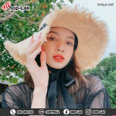 Fashion hat, straw hat, wide-brimmed straw hat, with neck straps Lisa BLACKPINK No.F5Ah18-0199