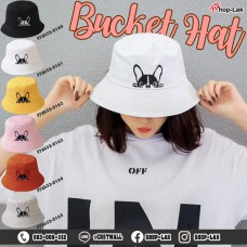 BUCKET hat embroidered pug dog, hat, BUCKET, beautiful pattern, cute, soft fabric, model F7Ah32-0160.