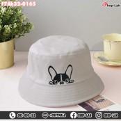 BUCKET hat embroidered pug dog, hat, BUCKET, beautiful pattern, cute, soft fabric, model F7Ah32-0160.