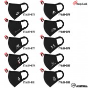 ผ้าปิดปากอย่างดี สีดำปักลายแบรนด์ 8 แบบ No.F7Ac25-0173