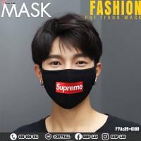 Black mask, washed cotton, Supreme Black, red No. F7Ac25-0189