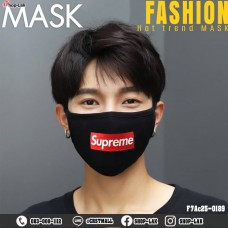 Black mask, washed cotton, Supreme Black, red No. F7Ac25-0189