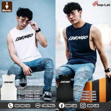 Men's fashion tank top, COTTON rolled fabric, iDenGo pattern on chest, soft and comfortable, available in 2 colors, 4 sizes, No.F7Cs01-0161