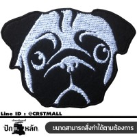 Logo Embroidered shirt, pug dog, embroidered pug dog Pug Dog Logo Rolled shirt, embroidered pug dog, rolled dog clothes, Pug dog pattern No. F3Aa51-0005