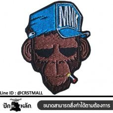 Monkey Sticker , Monkey Shirt Monkey badge, Monkey monkey shirt Embroidery work on the body, denim hat, Monkey No. F3Aa51-0006