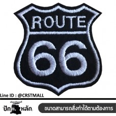 Embroidery arm, Arm-mounted T-shirt ROUTE 66, leather label attached, striped shirt ROUTE 66 No. F3Aa51-0004