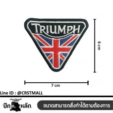 Embroidery material Arm-mounted TRIUMPH striped shirt TRIUMPH badge Leather label with TRIUMPH striped shirt, triangle No. F3Aa51-0008