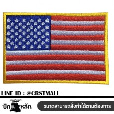 American flag embroidery Rolled label attached to the American flag pattern Rolled shirt attached to the American flag Arm rolled on the American flag pattern Embroidery stitching No. F3Aa51-0009