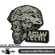 Logo, embroidering material, sewing arm, stick shirt, skull pattern, Army Army skull badge Leather label attached to the shirt, skull pattern, Army Arm rolled No. F3Aa51-0011