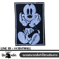 Embroidery arm, Mickey Mouse pattern Ironing label with Mickey Mouse pattern Ironed shirt with Mickey Mouse pattern Arm rolled with a Mickey Mouse pattern Logo Mickey Mouse Embroidery No. F3Aa51-0007