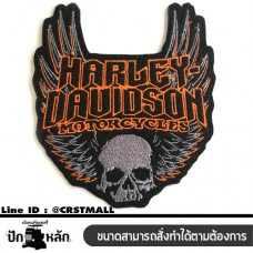 Rolled arm, body harness, HARLEY DAVIDSON, skull pattern Ironing clothes Halley skull pattern Embroidery logo HARLEY DAVIDSON No. F3Aa51-0017