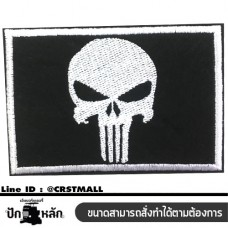 Iron-on clothes pin, embroidery pattern, PUNISHER, embroidery stick, PUNISHER shirt PUNISHER logo on the shirt embroidered on the shirt. Skull embroidery. PUNISHER NO. F3AA51-0005