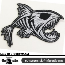 Iron Embroidery , Piranha Fish Arm-rolled clothes, embroidery, piranha logo, piranha embroidery clothes, shirt-rolled clothes Logo, Piranha embroidery, Piranha embroidery, No. F3Aa51-0006