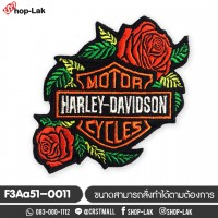 Arm rolled on clothes, embroidered with Harley Davidson Rose pattern, rose, rolled on, embroidered fabric, rolled sheet, embroidered cloth, Harley Davidson, rose embroidery, Harley Davidson rose No.F3Aa51-0011
