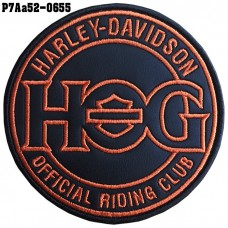 HOG harley-davidson embroidered patch Embroidered in black, orange, black leather cloth/SIZE 8*8cm, embroidery work, model P7Aa52-0655