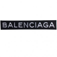 Balenciaga embroidery arm, size 11x1.8 cm, black embroidery, shirt attached, attached with hat, fashion item, DIY clothes, embroidery No.F3Aa51-0005