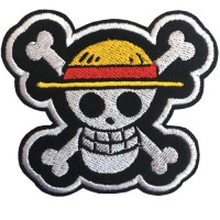 One Piece Embroidered Arm One Piece Luffy Straw Hat Flag 7x6 cm Sticking fashion products, DIY work, clothes, embroidery details No.F3Aa51-0005