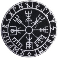 Viking Vegvisir Size 7 x 7 cm Embroidery arm on the hat. DIY work. Fashion clothes Embroidery No.F3Aa51-0008
