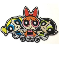 Power Puff Girls Embroidery Sleeve 10x6.5 cm Attaching to a shirt attached to the hat Addicted to fashion products DIY work Embroidery No.F3Aa51-0008