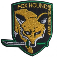 Fox Hound embroidery arm sleeve size 7.5x8 cm, attached to a hat, attached to a DIY work. Fashion clothing Embroidery No.F3Aa51-0009