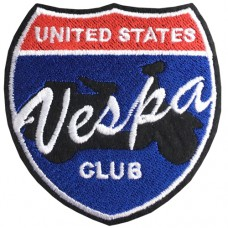 UNITED STATES VESPA CLUB / Size 7 * 7cm # Arm Embroidered White, Red, Blue, Black Background High quality embroidery No. P7Aa52-0459