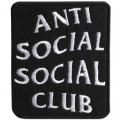Anti social social club embroidery arm / Size 7 * 6cm # embroidered black and white with black background High quality embroidery No.P7Aa52-0461