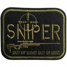 SNIPER OUT OF SIGHT embroidery arm / Size 7.5 * 6cm #, embroidered in dark green No.P7Aa52-0476