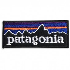 Patch Iron on the shirt with embroidery patagonia / Size 7 * 3cm # embroidered blue, purple, orange, white, black background Model P7Aa52-0504