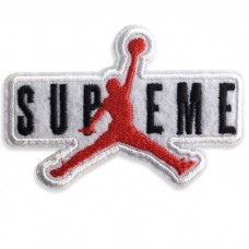 Patch Iron on for embroidered Supreme Jordan / Size 7 * 5cm # embroidered red, black, white on white. Model P7Aa52-0505