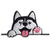 Patch The iron is attached to the shirt, embroidered Husky with hand logo / Size 7 * 4cm. Model P7Aa52-0507