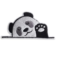 Patch Iron on the shirt, embroidered with panda pattern raised hands / Size 8 * 4cm # Embroidered black, white, gray, white background Model P7Aa52-0508