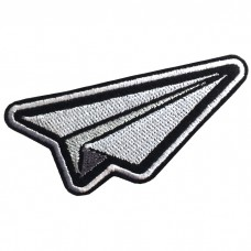 Patch Iron for attaching the shirt arm embroidered with paper plane / Size 7.5 * 3cm Model P7Aa52-0509