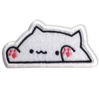 Patch The iron is attached to the shirt, embroidered with a cat pattern raised hands / Size 8 * 4cm # Embroidered black, pink, white Model P7Aa52-0510