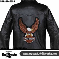Shirt Iron on the shirt, embroidered with HARLEY large eagle / Size 25 * 20cm # embroidered white, brown, orange, poly black, model P7Aa52-0524.