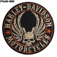 Shirt Iron on the shirt, embroidered HARLEY, skull head, wind circle, TATAMI / Size 8 * 8cm # embroidered cream orange on black, model P7Aa52-0525