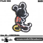 Shirt Iron on the shirt, embroidered Mickey Mouse pattern, shadow / Size 6 * 4cm # embroidered black, red, yellow, white, black background model P7Aa52-0526