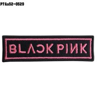 Shirt The iron is attached to the shirt, embroidered with BLACK PINK / Size 8 * 2cm. # Embroidered black, pink, black background model P7Aa52-0529
