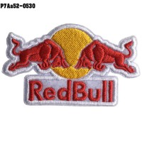 Shirt Ironing machine for attaching the shirt to embroidered with Red Bull / Size 4 * 7cm # embroidered red, yellow, white, white background model P7Aa52-0530.