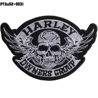 Shirt Iron on the shirt, embroidered with HARLEY OWNERS GROUP skull with wings / Size 9.5 * 6.5cm # embroidered black, white, black, model P7Aa52-0531.