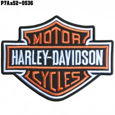 Shirt Iron on the shirt, embroidered with HARLEY logo, poly fabric / Size 9.5 * 7.5cm # embroidered, orange, white, black, poly black, model P7Aa52-0536.