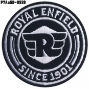Shirt Iron on the shirt, embroidered with ROYAL ENFIELD circle R / Size 6 * 6cm #, embroidered white on black, model P7Aa52-0539.