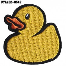 Shirt Iron on the shirt, embroidered with cute yellow duck pattern / Size 5 * 5cm # embroidered, black, white, yellow, orange, black background model P7Aa52-0542