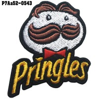 อาร์มติดเสื้อ ตัวรีดติดเสื้อ อาร์มปักลาย Pringles /Size 6*4.5cm #ปักดำขาวเหลืองแดงพื้นดำ ลวดลายสวยงามคุณภาพดี รุ่น P7Aa52-0543
