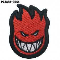 Shirt Iron on the shirt, embroidered on the head of fire spirit fire / Size 6 * 5cm # embroidered black, white, red, black background Good quality work, sharp lines, beautiful patterns, model P7Aa52-0544