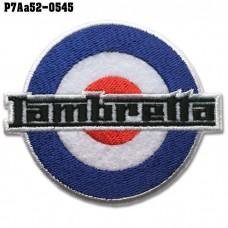 Shirt Iron on to attach to the shirt, embroidered on Lambretta, wind circle / Size 7 * 6cm # Embroidery, black, white, red, blue, white background model P7Aa52-0545