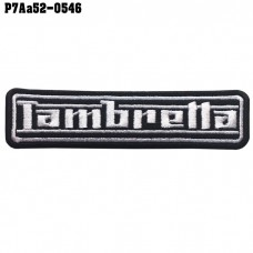 Shirt Iron for attaching the shirt to the arm, embroidered with Lambretta pattern letter / Size 11 * 3cm # Embroidered black, white, black background model P7Aa52-0546