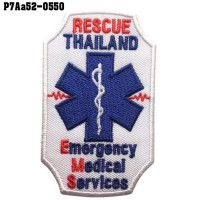 Shirt Iron on the shirt, embroidered with ESCUE EMS THAILAND / Size 9 * 5cm # embroidered blue, red, white, poly white background. Good quality work with durable model P7Aa52-0550