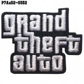 Shirt Iron on the shirt, embroidered on GRAND THEFT AUTO GTA / Size 6 * 5cm # black white embroidery on black background Fine embroidery, good quality, model P7Aa52-0552.