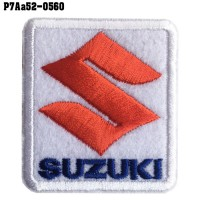 Shirt Ironing press for attaching the shirt, car logo embroidery, SUZUKI / Size 5.3 * 4.7cm # embroidered white, red, blue, white background, fine quality embroidery, model P7Aa52-0560
